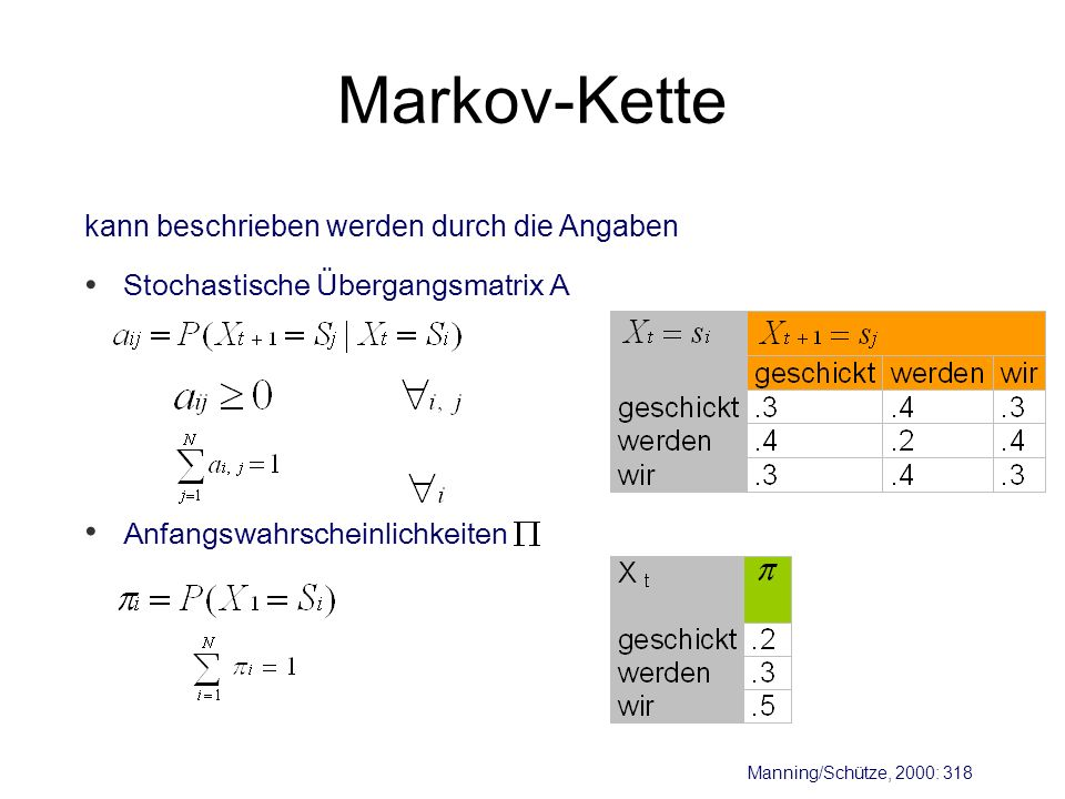 Markov-Kette kann beschrieben werden durch die Angaben Manning/Schütze, 2000: 318 Anfangswahrscheinlichkeiten Stochastische Übergangsmatrix A