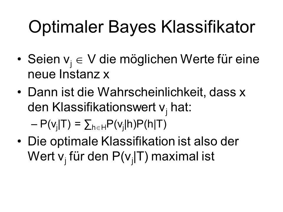 Optimaler Bayes Klassifikator Seien v j V die möglichen Werte für eine neue Instanz x Dann ist die Wahrscheinlichkeit, dass x den Klassifikationswert v j hat: –P(v j |T) = h H P(v j |h)P(h|T) Die optimale Klassifikation ist also der Wert v j für den P(v j |T) maximal ist