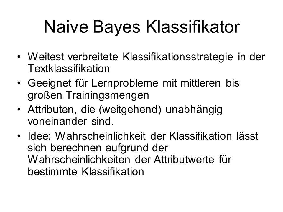 Naive Bayes Klassifikator Weitest verbreitete Klassifikationsstrategie in der Textklassifikation Geeignet für Lernprobleme mit mittleren bis großen Trainingsmengen Attributen, die (weitgehend) unabhängig voneinander sind.