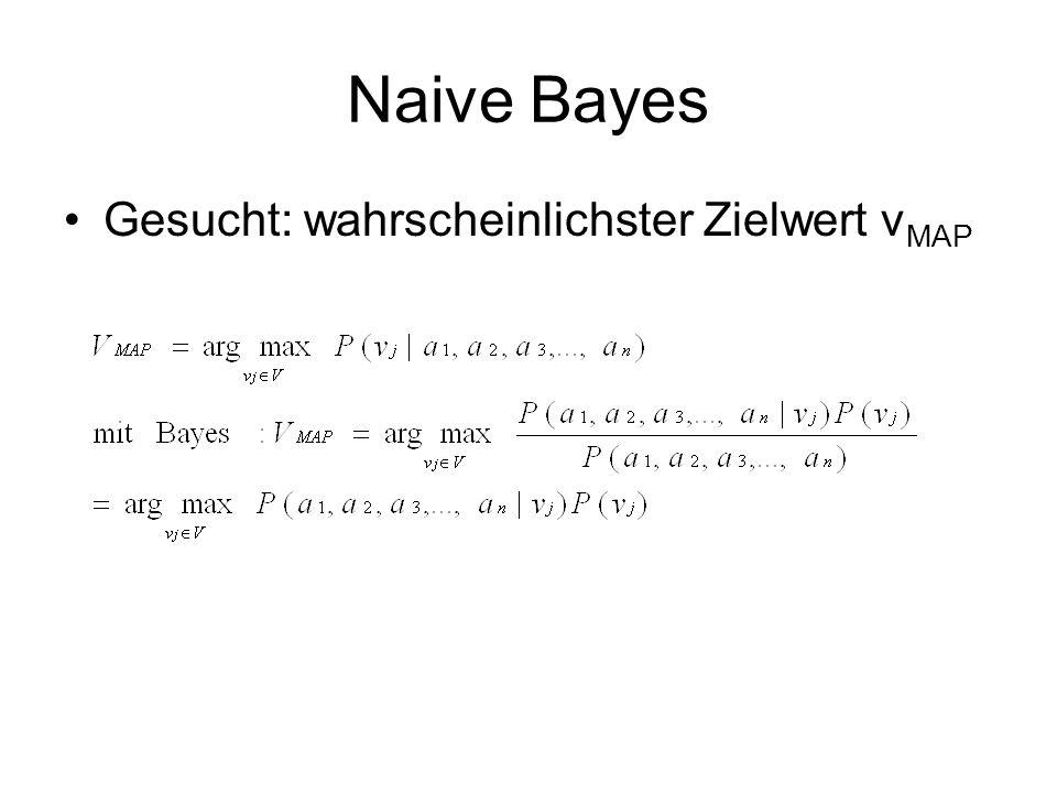 Naive Bayes Gesucht: wahrscheinlichster Zielwert v MAP