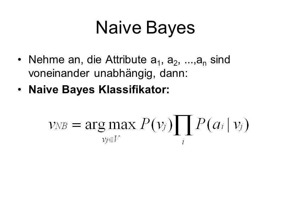 Naive Bayes Nehme an, die Attribute a 1, a 2,...,a n sind voneinander unabhängig, dann: Naive Bayes Klassifikator: