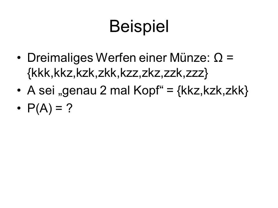Beispiel Dreimaliges Werfen einer Münze: Ω = {kkk,kkz,kzk,zkk,kzz,zkz,zzk,zzz} A sei genau 2 mal Kopf = {kkz,kzk,zkk} P(A) = ?