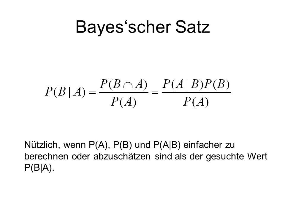 Bayesscher Satz Nützlich, wenn P(A), P(B) und P(A|B) einfacher zu berechnen oder abzuschätzen sind als der gesuchte Wert P(B|A).