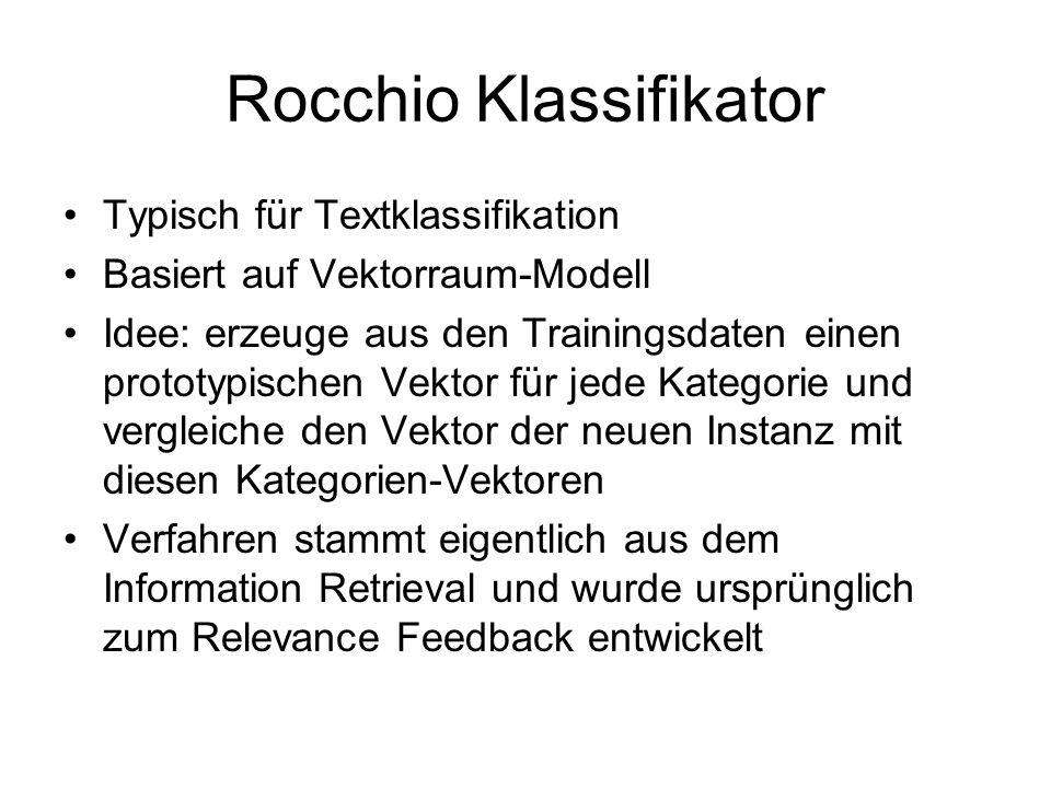 Rocchio Klassifikator Typisch für Textklassifikation Basiert auf Vektorraum-Modell Idee: erzeuge aus den Trainingsdaten einen prototypischen Vektor fü