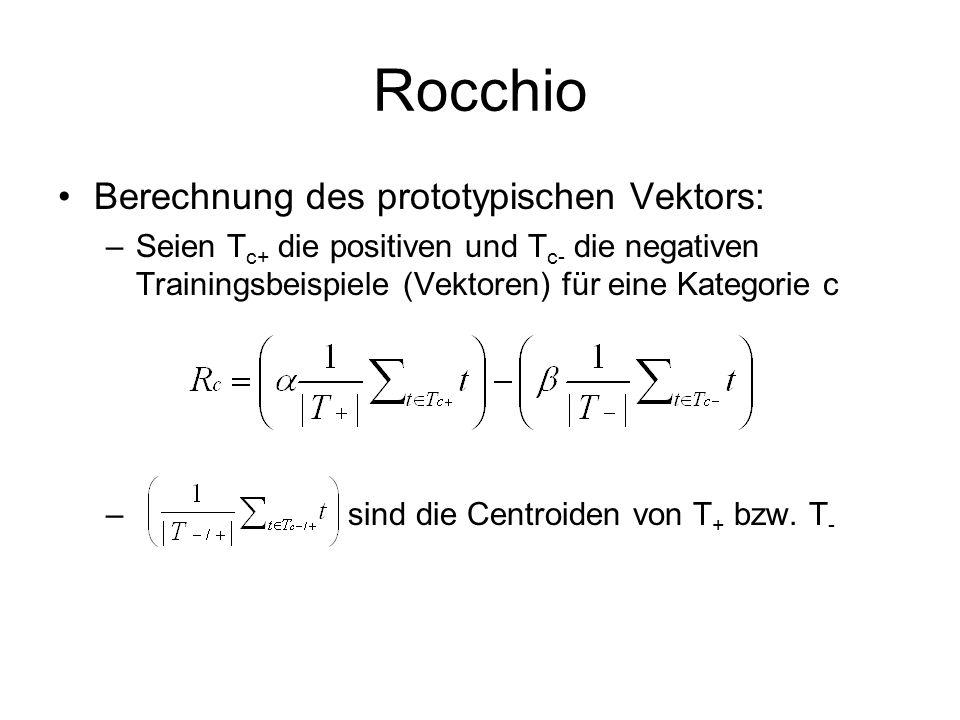 Rocchio Berechnung des prototypischen Vektors: –Seien T c+ die positiven und T c- die negativen Trainingsbeispiele (Vektoren) für eine Kategorie c – s