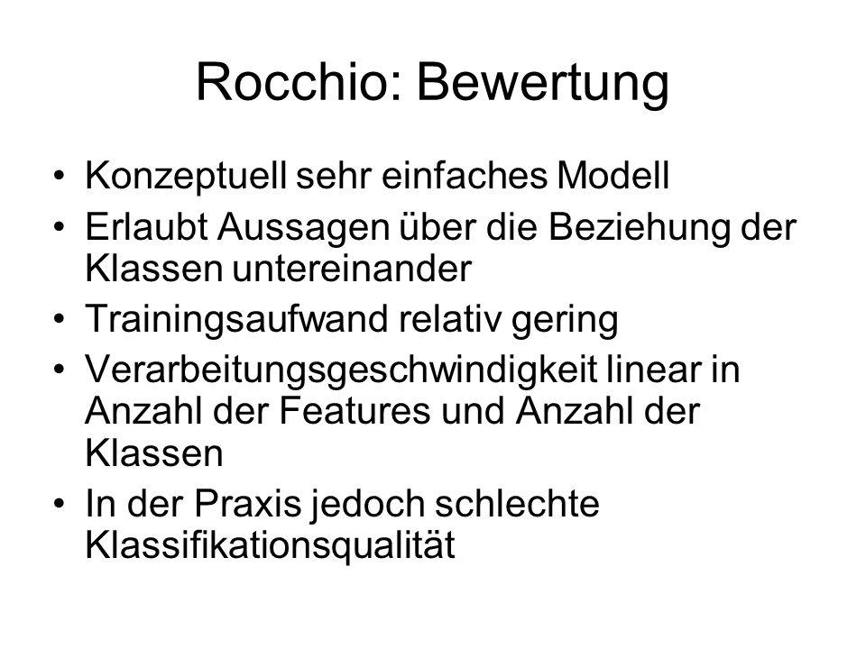 Rocchio: Bewertung Konzeptuell sehr einfaches Modell Erlaubt Aussagen über die Beziehung der Klassen untereinander Trainingsaufwand relativ gering Ver