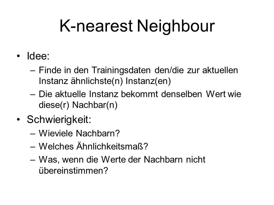 K-nearest Neighbour Idee: –Finde in den Trainingsdaten den/die zur aktuellen Instanz ähnlichste(n) Instanz(en) –Die aktuelle Instanz bekommt denselben