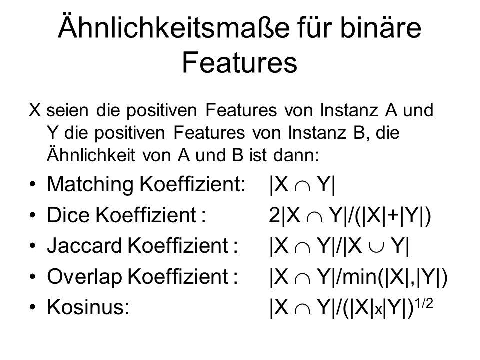 Ähnlichkeitsmaße für binäre Features X seien die positiven Features von Instanz A und Y die positiven Features von Instanz B, die Ähnlichkeit von A un