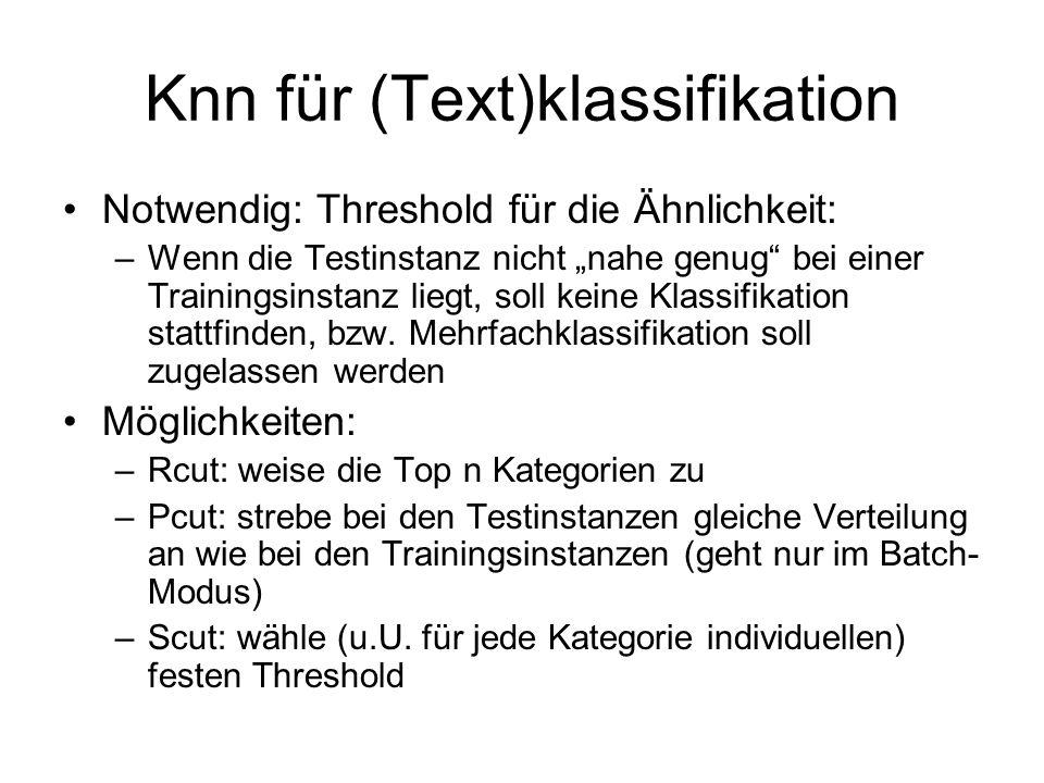 Knn für (Text)klassifikation Notwendig: Threshold für die Ähnlichkeit: –Wenn die Testinstanz nicht nahe genug bei einer Trainingsinstanz liegt, soll k