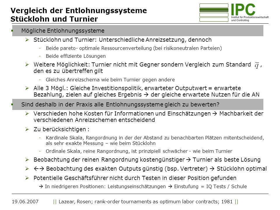 19.06.2007|| Lazear, Rosen; rank-order tournaments as optimum labor contracts; 1981 || Vergleich der Entlohnungssysteme Stücklohn und Turnier Mögliche