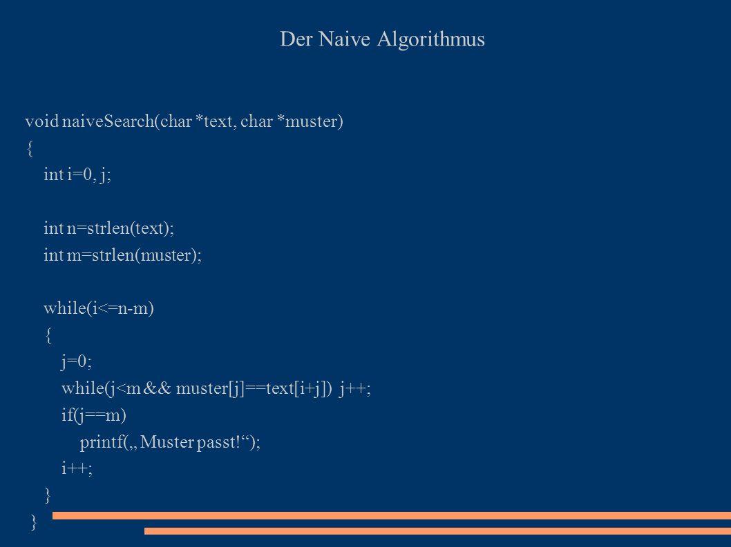 Meine Implementation der Naive Algorithmus void myalgorithm(char *s1, char *s2) { int l1, l2, counter=0, i=0; l1=strlen(s1); l2=strlen(s2); if(l2==0) { printf(s2 hat Laenge=0\n); exit(0); } while(l1>=l2) { if( (memcmp(s1,s2,l2))==0) printf(s2 passt in s1 an Position %d\n, i); s1++; l1--; i++; }