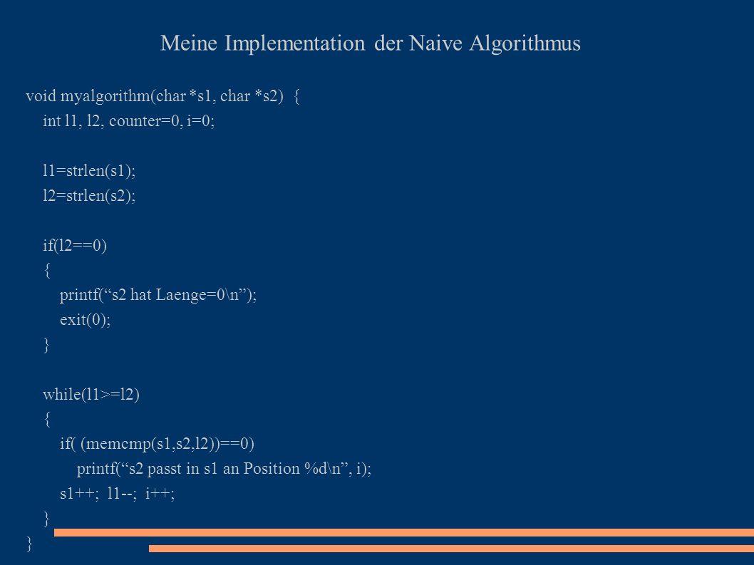 Meine Implementation der Naive Algorithmus void myalgorithm(char *s1, char *s2) { int l1, l2, counter=0, i=0; l1=strlen(s1); l2=strlen(s2); if(l2==0)