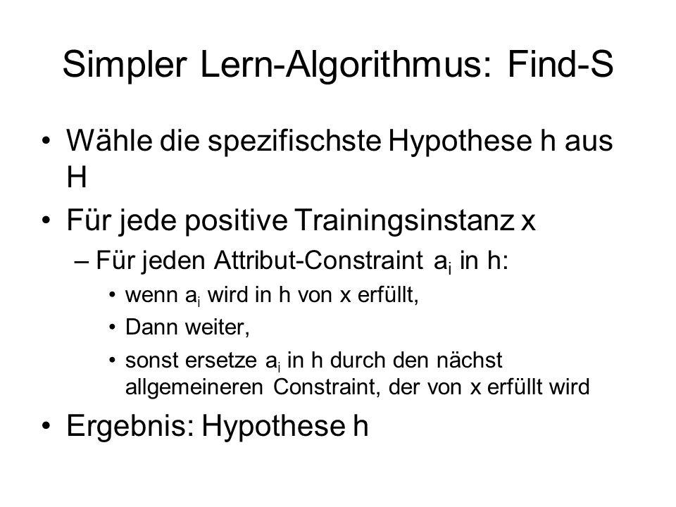 Simpler Lern-Algorithmus: Find-S Wähle die spezifischste Hypothese h aus H Für jede positive Trainingsinstanz x –Für jeden Attribut-Constraint a i in