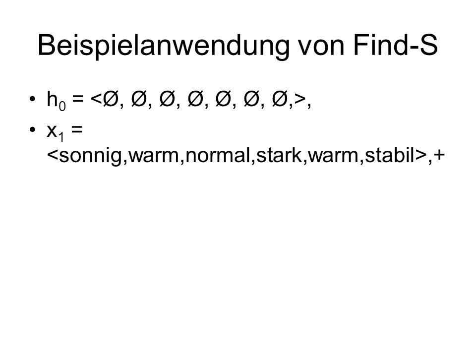 Beispielanwendung von Find-S h 0 =, x 1 =,+