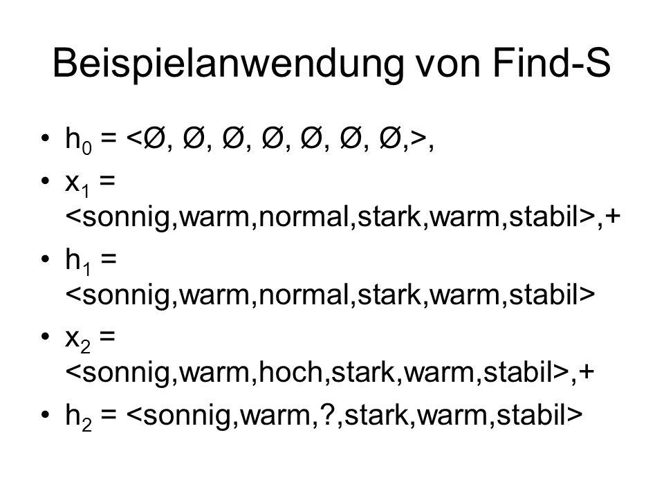 Beispielanwendung von Find-S h 0 =, x 1 =,+ h 1 = x 2 =,+ h 2 =