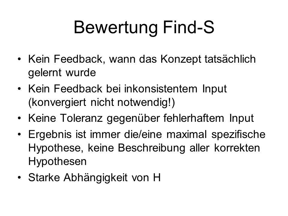 Bewertung Find-S Kein Feedback, wann das Konzept tatsächlich gelernt wurde Kein Feedback bei inkonsistentem Input (konvergiert nicht notwendig!) Keine
