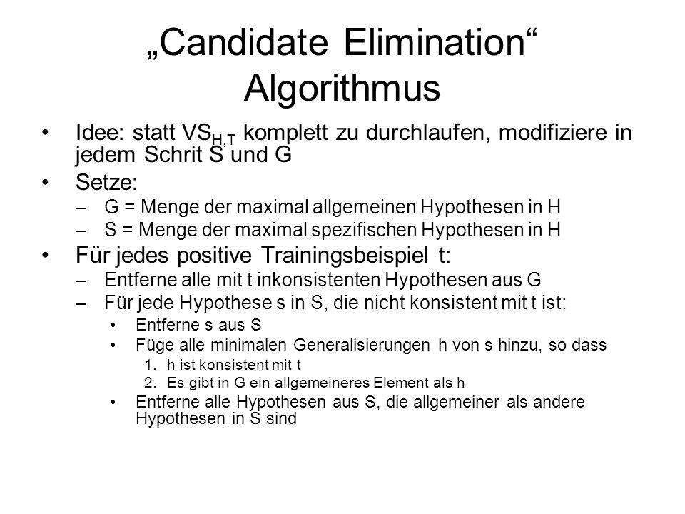 Candidate Elimination Algorithmus Idee: statt VS H,T komplett zu durchlaufen, modifiziere in jedem Schrit S und G Setze: –G = Menge der maximal allgem