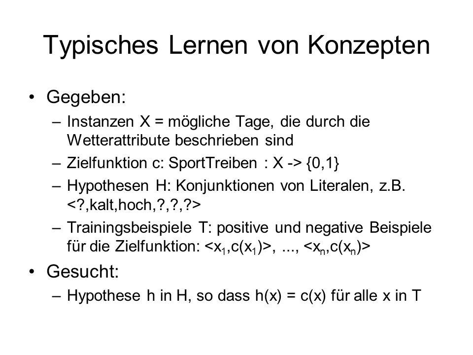 Typisches Lernen von Konzepten Gegeben: –Instanzen X = mögliche Tage, die durch die Wetterattribute beschrieben sind –Zielfunktion c: SportTreiben : X