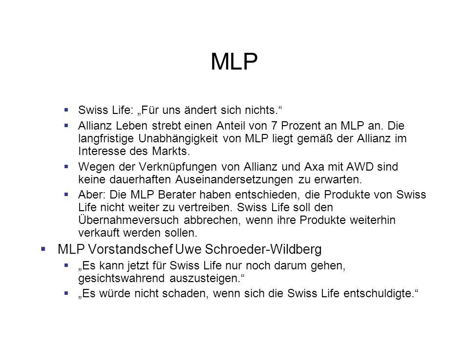 MLP Swiss Life: Für uns ändert sich nichts. Allianz Leben strebt einen Anteil von 7 Prozent an MLP an. Die langfristige Unabhängigkeit von MLP liegt g