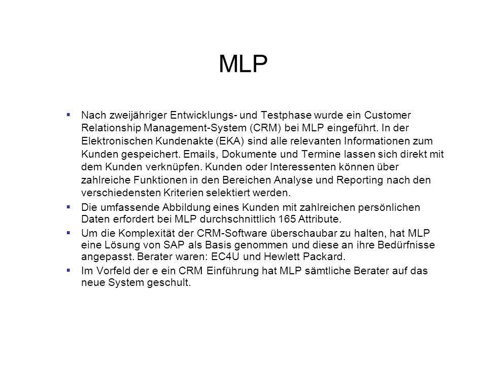 MLP Nach zweijähriger Entwicklungs- und Testphase wurde ein Customer Relationship Management-System (CRM) bei MLP eingeführt. In der Elektronischen Ku