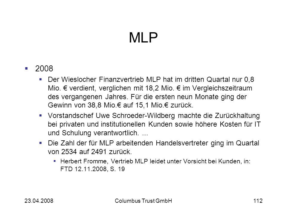 MLP 2008 Der Wieslocher Finanzvertrieb MLP hat im dritten Quartal nur 0,8 Mio. verdient, verglichen mit 18,2 Mio. im Vergleichszeitraum des vergangene