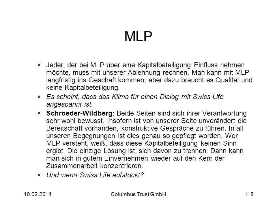 MLP Jeder, der bei MLP über eine Kapitalbeteiligung Einfluss nehmen möchte, muss mit unserer Ablehnung rechnen. Man kann mit MLP langfristig ins Gesch