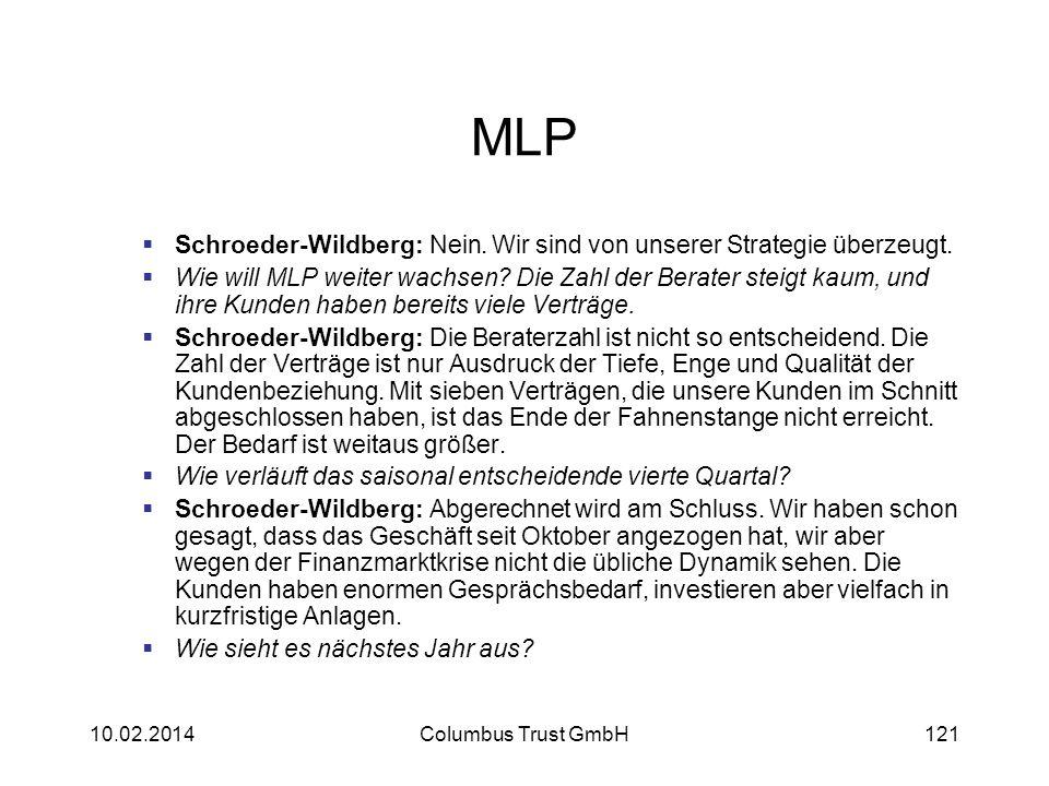 MLP Schroeder-Wildberg: Nein. Wir sind von unserer Strategie überzeugt. Wie will MLP weiter wachsen? Die Zahl der Berater steigt kaum, und ihre Kunden