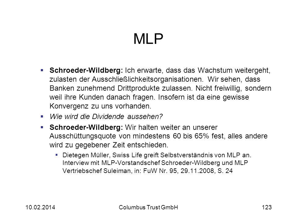 MLP Schroeder-Wildberg: Ich erwarte, dass das Wachstum weitergeht, zulasten der Ausschließlichkeitsorganisationen. Wir sehen, dass Banken zunehmend Dr
