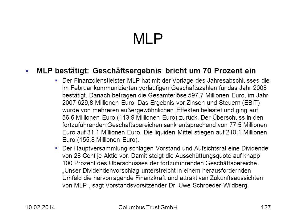 MLP MLP bestätigt: Geschäftsergebnis bricht um 70 Prozent ein Der Finanzdienstleister MLP hat mit der Vorlage des Jahresabschlusses die im Februar kom