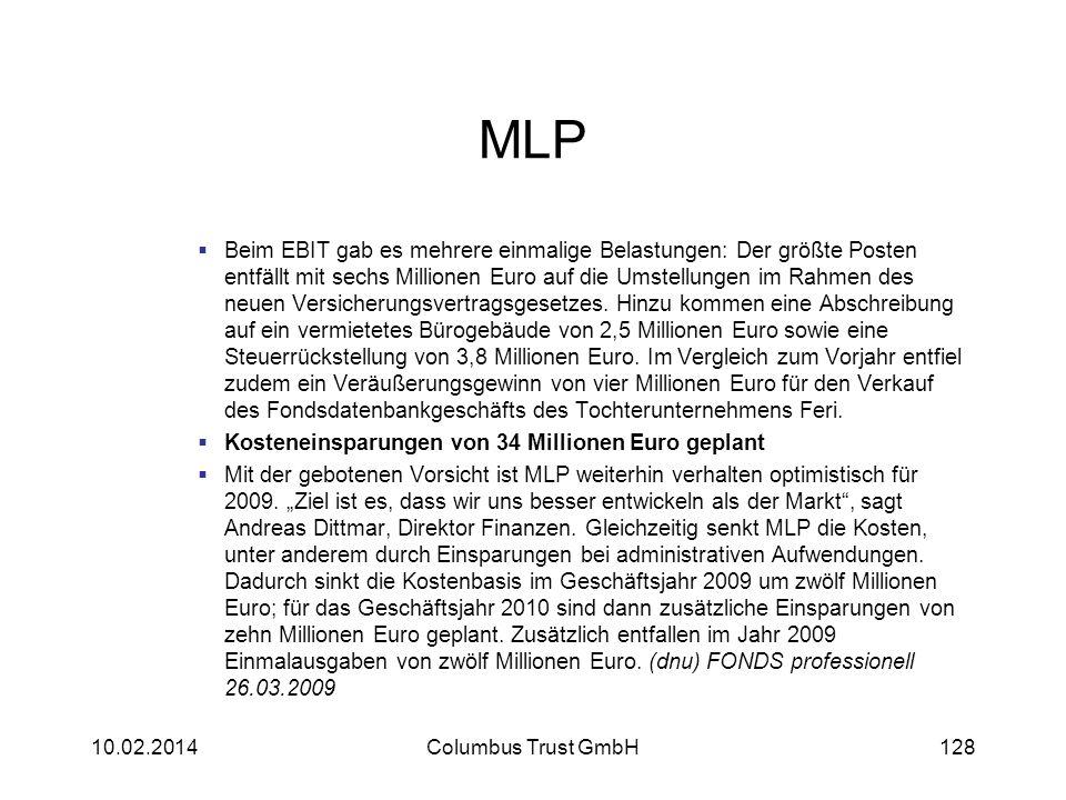 MLP Beim EBIT gab es mehrere einmalige Belastungen: Der größte Posten entfällt mit sechs Millionen Euro auf die Umstellungen im Rahmen des neuen Versi