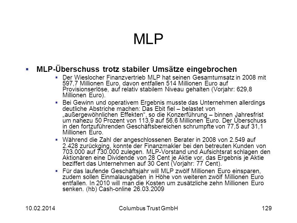 MLP MLP-Überschuss trotz stabiler Umsätze eingebrochen Der Wieslocher Finanzvertrieb MLP hat seinen Gesamtumsatz in 2008 mit 597,7 Millionen Euro, dav