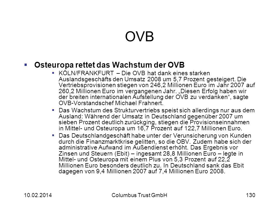 OVB Osteuropa rettet das Wachstum der OVB KÖLN/FRANKFURT – Die OVB hat dank eines starken Auslandsgeschäfts den Umsatz 2008 um 5,7 Prozent gesteigert.