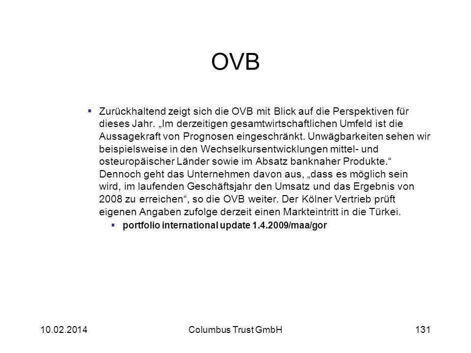 OVB Zurückhaltend zeigt sich die OVB mit Blick auf die Perspektiven für dieses Jahr. Im derzeitigen gesamtwirtschaftlichen Umfeld ist die Aussagekraft