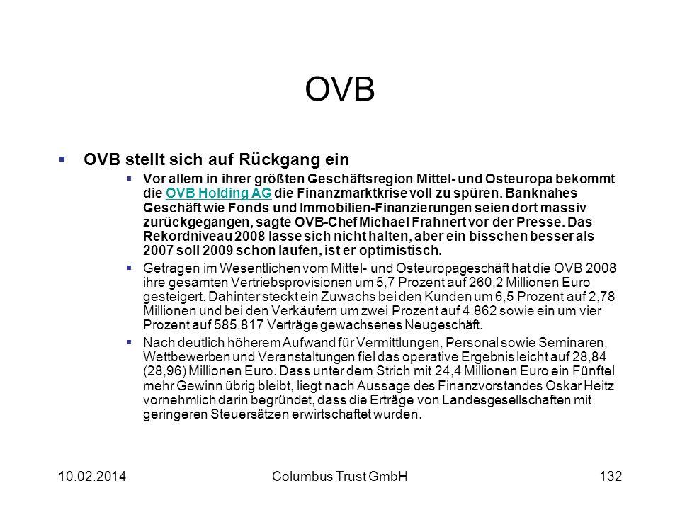 OVB OVB stellt sich auf Rückgang ein Vor allem in ihrer größten Geschäftsregion Mittel- und Osteuropa bekommt die OVB Holding AG die Finanzmarktkrise
