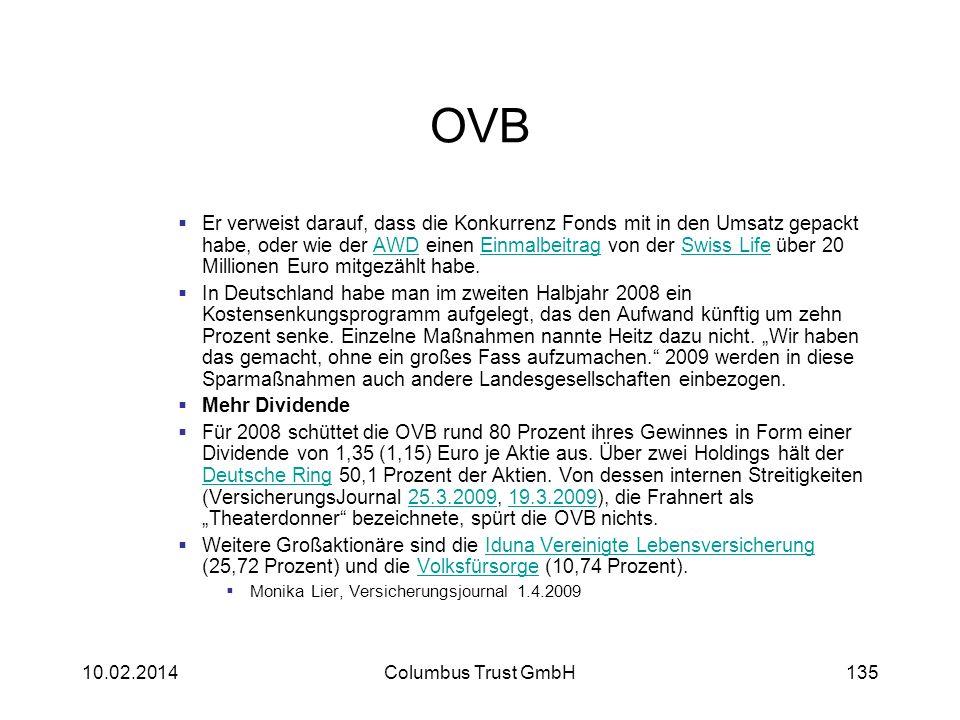 OVB Er verweist darauf, dass die Konkurrenz Fonds mit in den Umsatz gepackt habe, oder wie der AWD einen Einmalbeitrag von der Swiss Life über 20 Mill