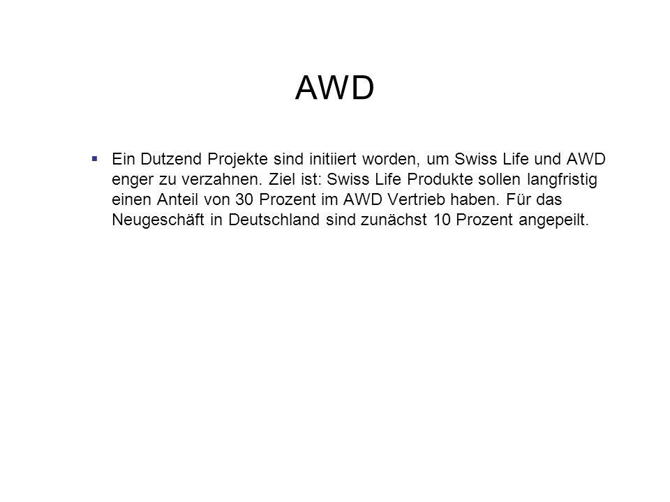 AWD Ein Dutzend Projekte sind initiiert worden, um Swiss Life und AWD enger zu verzahnen. Ziel ist: Swiss Life Produkte sollen langfristig einen Antei