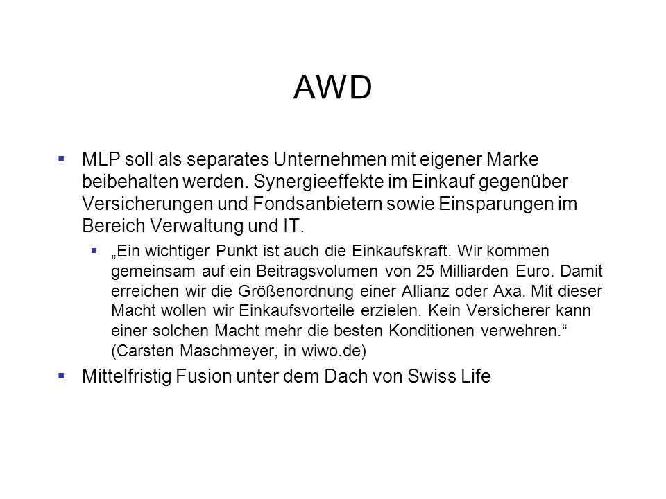 AWD MLP soll als separates Unternehmen mit eigener Marke beibehalten werden. Synergieeffekte im Einkauf gegenüber Versicherungen und Fondsanbietern so