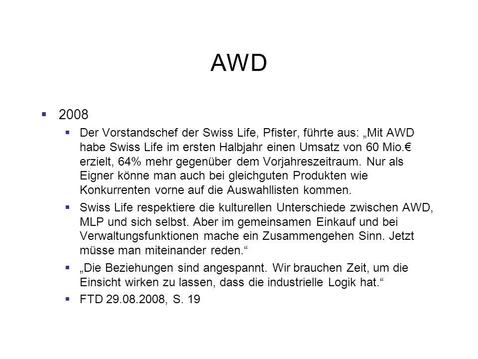 AWD 2008 Der Vorstandschef der Swiss Life, Pfister, führte aus: Mit AWD habe Swiss Life im ersten Halbjahr einen Umsatz von 60 Mio. erzielt, 64% mehr