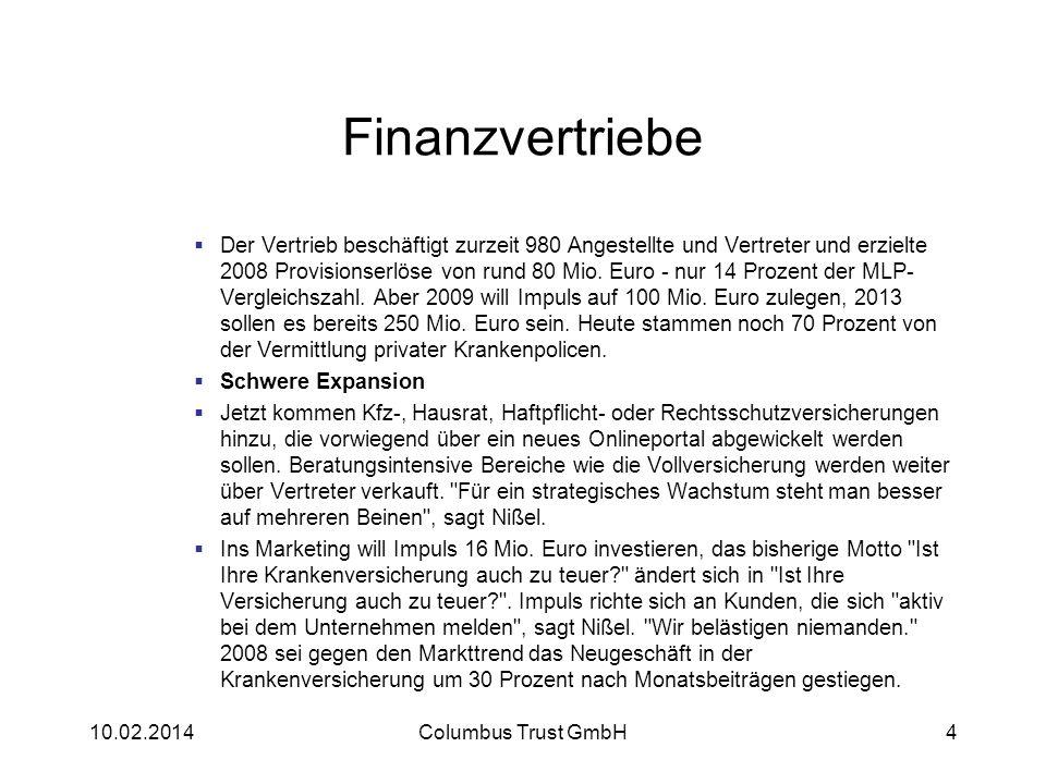 Finanzvertriebe Der Vertrieb beschäftigt zurzeit 980 Angestellte und Vertreter und erzielte 2008 Provisionserlöse von rund 80 Mio. Euro - nur 14 Proze
