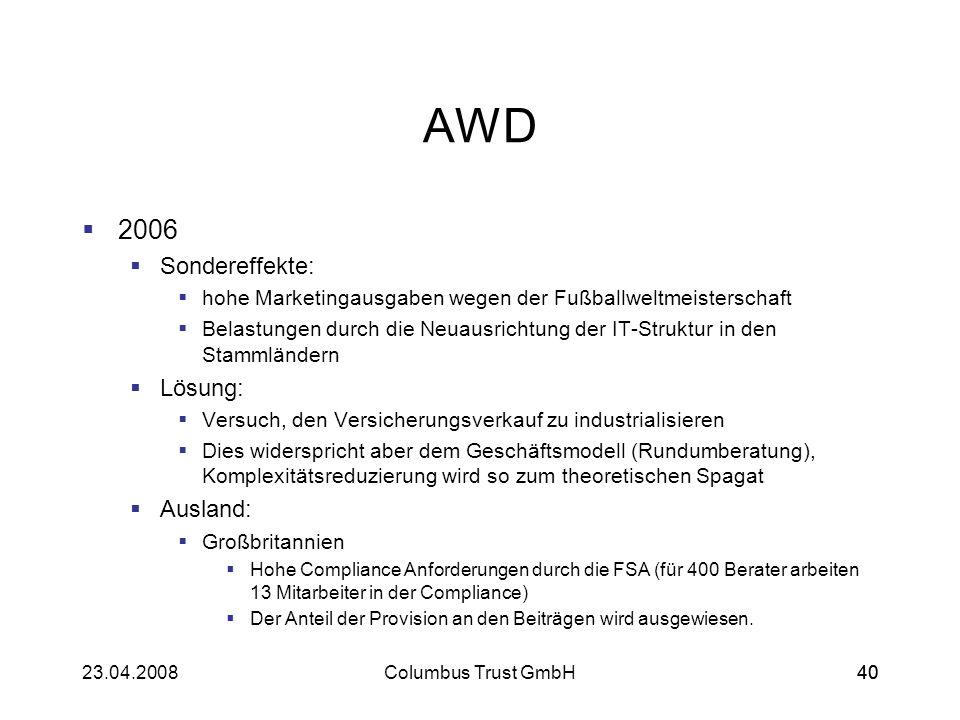 4023.04.2008Columbus Trust GmbH40 AWD 2006 Sondereffekte: hohe Marketingausgaben wegen der Fußballweltmeisterschaft Belastungen durch die Neuausrichtu