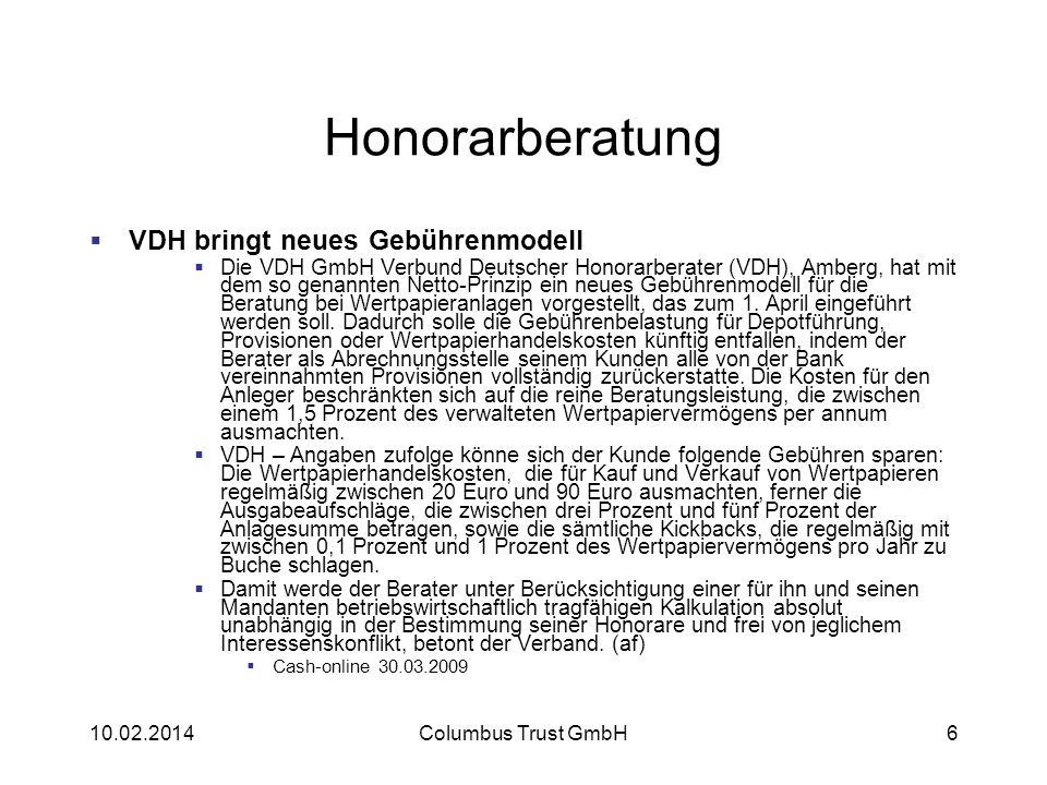 Honorarberatung VDH bringt neues Gebührenmodell Die VDH GmbH Verbund Deutscher Honorarberater (VDH), Amberg, hat mit dem so genannten Netto-Prinzip ei