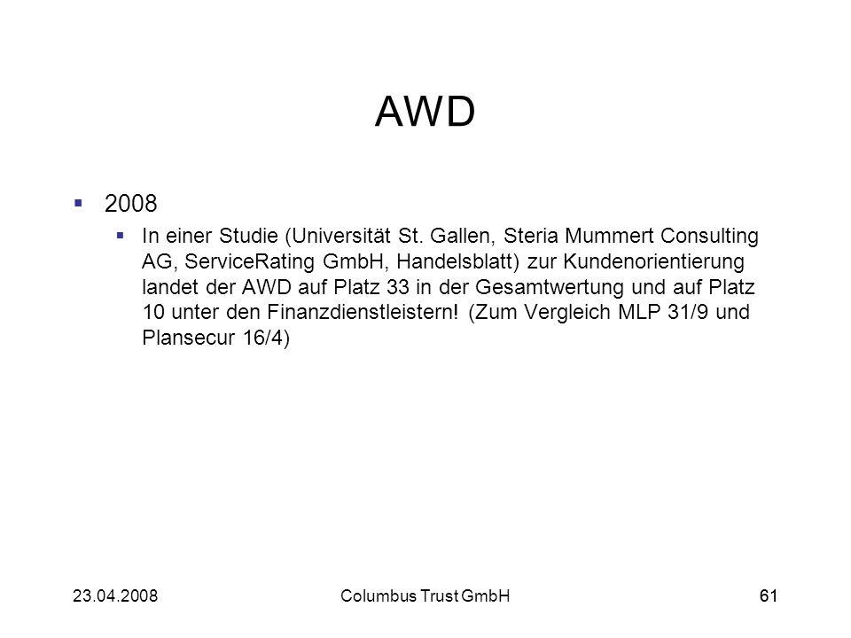 6123.04.2008Columbus Trust GmbH61 AWD 2008 In einer Studie (Universität St. Gallen, Steria Mummert Consulting AG, ServiceRating GmbH, Handelsblatt) zu