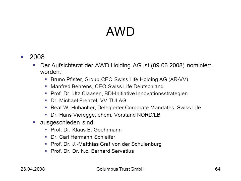 6423.04.2008Columbus Trust GmbH64 AWD 2008 Der Aufsichtsrat der AWD Holding AG ist (09.06.2008) nominiert worden: Bruno Pfister, Group CEO Swiss Life