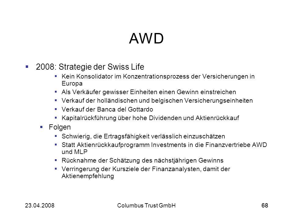 6823.04.2008Columbus Trust GmbH68 AWD 2008: Strategie der Swiss Life Kein Konsolidator im Konzentrationsprozess der Versicherungen in Europa Als Verkä