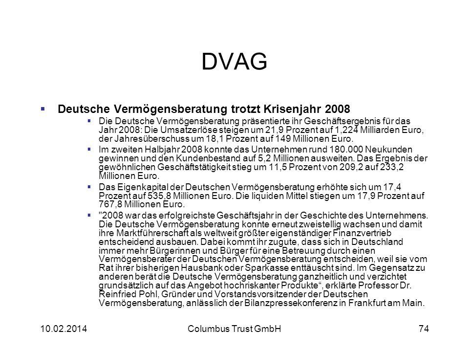DVAG Deutsche Vermögensberatung trotzt Krisenjahr 2008 Die Deutsche Vermögensberatung präsentierte ihr Geschäftsergebnis für das Jahr 2008: Die Umsatz