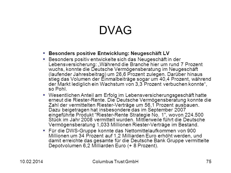 DVAG Besonders positive Entwicklung: Neugeschäft LV Besonders positiv entwickelte sich das Neugeschäft in der Lebensversicherung: Während die Branche
