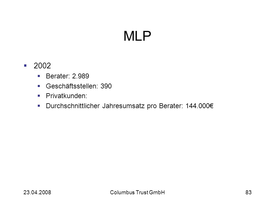 23.04.2008Columbus Trust GmbH83 MLP 2002 Berater: 2.989 Geschäftsstellen: 390 Privatkunden: Durchschnittlicher Jahresumsatz pro Berater: 144.000