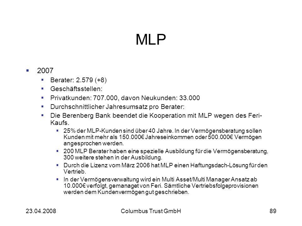 23.04.2008Columbus Trust GmbH89 MLP 2007 Berater: 2.579 (+8) Geschäftsstellen: Privatkunden: 707.000, davon Neukunden: 33.000 Durchschnittlicher Jahre