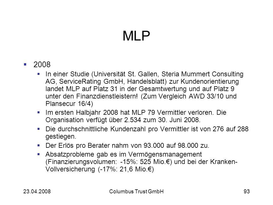 23.04.2008Columbus Trust GmbH93 MLP 2008 In einer Studie (Universität St. Gallen, Steria Mummert Consulting AG, ServiceRating GmbH, Handelsblatt) zur