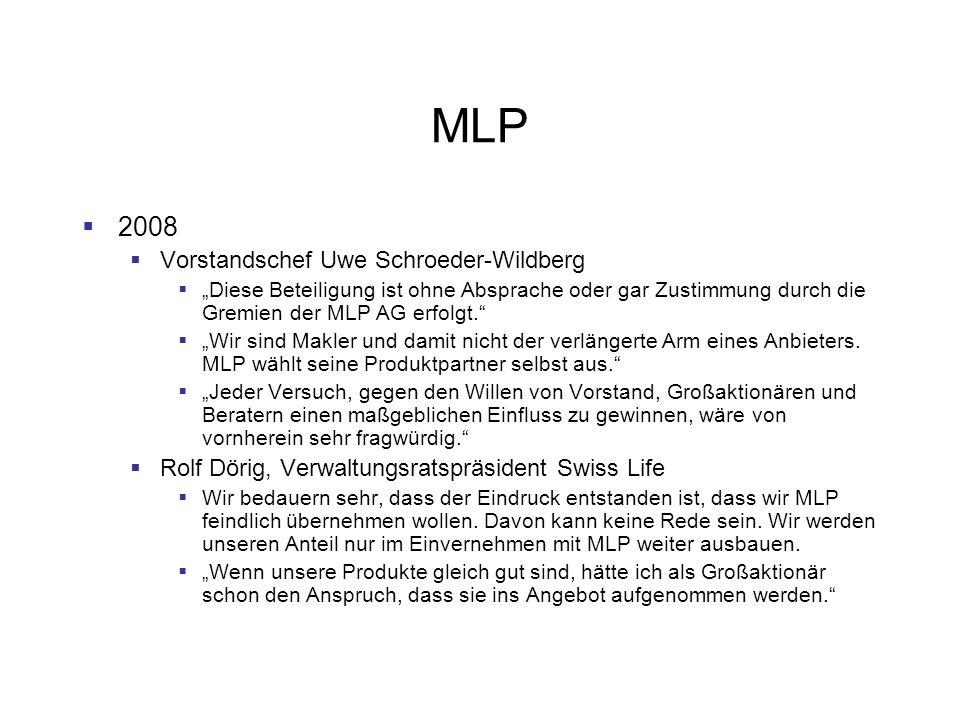 MLP 2008 Vorstandschef Uwe Schroeder-Wildberg Diese Beteiligung ist ohne Absprache oder gar Zustimmung durch die Gremien der MLP AG erfolgt. Wir sind
